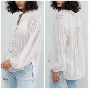 FREE PEOPLE Headed to The Highlands White Blouse